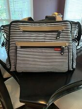 Skips Hop Grand Central Take-it-All Diaper Bag, Black and White Striped