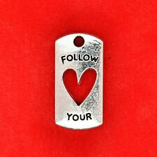 """4 x tibétain argent """"follow your heart"""" plaque charme pendentifs fabrication de bijoux"""