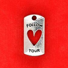 4 x Tibetan Silver 'Follow Your Heart' Plate Charm Pendants Jewellery Making