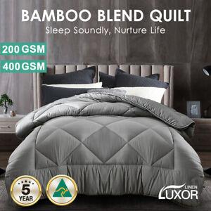 Aus Made All Size Microfibre Bamboo Winter Summer Quilt Duvet Doona Grey