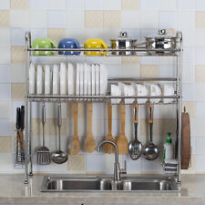 Stainless Steel Dish Drying Rack Over Sink Bowl Shelf Organizer Cutlery Holder