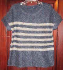 Gap M L Sweater Top Shirt Knit Short Sleeve Striped Soft Blue Beige Fall