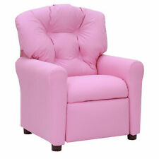 Kids Pink Recliner Child Size Chair Soft Seat Microfiber Upholstery Traditional