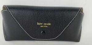 KATE SPADE New York Black Soft Leather Eye Glasses Eyeglass Case Snap Close