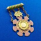 1937 10K Yellow Gold Pink Green Enamel 30 Year Eastern Star Service Award Pin