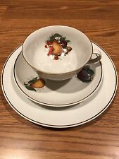 E&R Golden Crown Bavaria Germany - China Tea Cup, Saucer, & Plate with Fruit pic