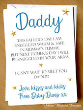 Dad to Be Love From Baby Bump 1st Father's Day Card Poem Daddy Fathers Blue Cute