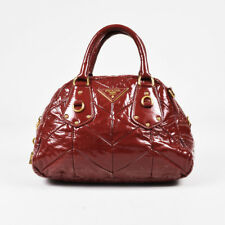Prada Red & Gold Tone Patent Leather Chevron Quilted Top Handle Dome Satchel
