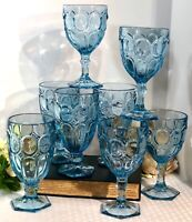 8 Fostoria Moonstone Light Blue 4 Water goblets And 4 ice Tea Glasses.