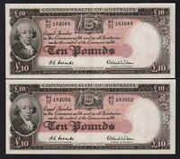 Australia R-62. (1954) 10 Pounds - Coombs/Wilson.. aU-UNC - CONSECUTIVE Pair