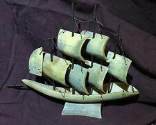 Vintage Bone & Bull Horn Sailboat Primative Handmade Ship Model Italy
