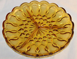 Vintage 1970s Fairfield Gold Amber Glass Divided Relish Dish Tray Anchor Hocking