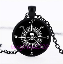 Compass Rose Skull Photo Glass Pendant Black Necklace for man woman Jewelry