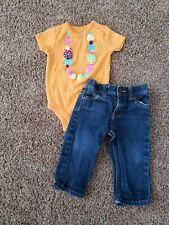 girl 9 month outfit, necklace shirt 9 months, jeans, orange bodysuit