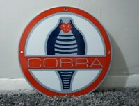 VINTAGE FORD COBRA PORCELAIN SIGN GAS SERVICE STATION OIL AD DEALERSHIP GT PARTS