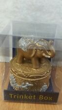 BRAND NEW Trinket Box Candle Holder Gold Elephant Happiness Silver Glitter Gift