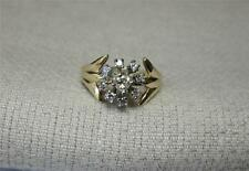 Canary Yellow Diamond Wedding Engagement Ring 14K Gold Flower Gorgeous Antique