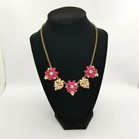 Loft Necklace Pink Coral Floral Ann Taylor Rhinestones Gold Tone Chain Signed