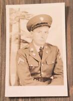 VINTAGE 1940s REAL PHOTO POSTCARD Army Soldier John Burge RPPC