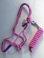Pink Rope Halter, Rope Headstall with 6ft lead Sizes Pony Cob Full XFull