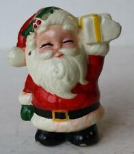 Santa Claus Figurine w-Package Holly Berries Closed Eyes Composite Material-CUTE