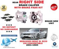 FOR MERCEDES BENZ SL R230 CONVERTIBLE 2003->2005 REAR RIGHT BRAKE CALIPER + PADS