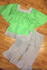 Lolly Wolly Doodle Girls Sz. 12 Easter to Summer Seersucker Angel Wing Capri Set