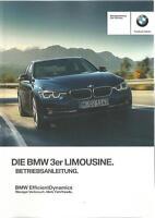 BMW 3er F30 Betriebsanleitung 2017 Bedienungsanleitung Handbuch Limousine BA