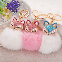 EB_ ALS_ AU_ Cute Rhinestone Fox Rabbit Fluffy Pompom Ball Keychain Car Key Ring