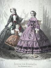 GRAVURE ANCIENNE MODE 19e - JOURNAL DES DEMOISELLES OCTOBRE 1860