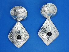 """LARGE SIGNED TZ-08 TAXCO MEXICO CHASED STERLING  w/ ONYX TRIBAL  EARRINGS ~ 2.5"""""""