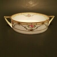 "Antique Nippon Bowl M Hand Painted Round Porcelain Pink Floral Gold Guilding  7"""
