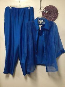 Sag Harbor Womens Three Piece Pants Blouse Set Size 18W Blue Camisole 197