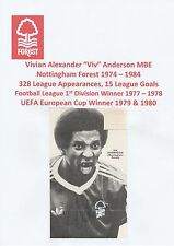 VIV ANDERSON NOTTINGHAM FOREST 1974-1984 ORIGINAL HAND SIGNED ANNUAL CUTTING