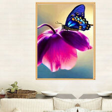 5D  Diamonds Painting Flower with Butterfly Cross Stitch Home Wall Decor BH