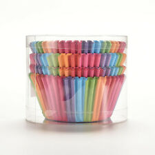 100X Mini Rainbow Paper Baking Cups Cupcake Liners Muffin Cupcake Paper Cases FR