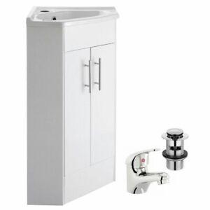 Compact Bathroom Corner Vanity Unit Cabinet Cloakroom Basin Sink Mixer Tap Waste