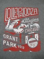 Official Lollapalooza - Grant Park 2012 - Chicago - Men's Medium Gray T-Shirt