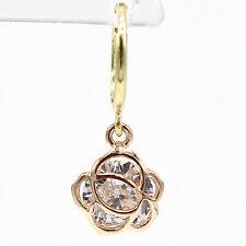 14k Solid Yellow&Rose Gold Hoop Earrings 6828 Charming Flower Design Lovely