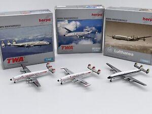 3 Herpa Wings Lockheed Constellation Lot L-1649A & L-1049G TWA Lufthansa 1:500