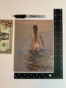 L@@K Original Painting NUDE girl BEAUTIFUL PEICE MERMAID