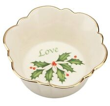 "Lenox Holiday ""Love"" Round Fluted Christmas Candy Dish, New in Box 822396 New"