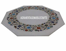 12'' Marble Restaurant Top Table Marquetry Floral Work Inlay Outdoor Decor H3361