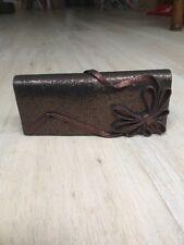 Philip Treacy Brown Glitter Bow Detail Clutch Hand Bag NEW
