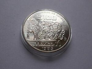 """Mexiko, 100 $ 1985 """"Fußball WM 1986"""" 925er Silber """"St in Kapsel"""" #MÜ052"""