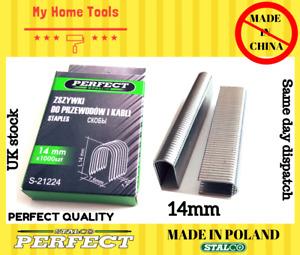 1000 x 14mm Staples GUN REFILLS U Shaped Nails Fabric/Wood Tacker Indust Cable