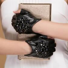 Luxus Damen Halbe Finger Leder Handschuhe mit Stein Handgelenk Länge Fäustlinge