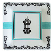 Ramadan/eid Dessert Plate with Lantern and Blue Design (Pack of 10)