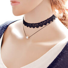 Korean Style Lace Pearl Necklace Leather Hollow Pendant Choker Multilayer