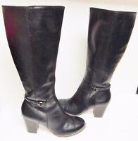 "GIANNI BINI Tall Leather Boots Knee Hi Zip 3"" Heel Black Ankle Strap Size 9 M"